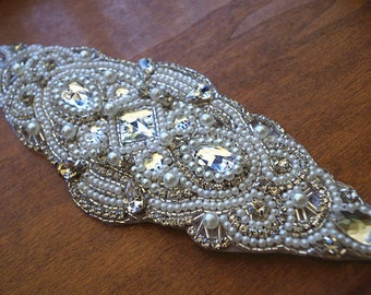 crystal beading applique, rhinestone applique, crystal applique, bridal sash applique