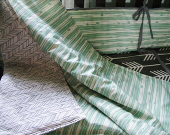 Baby Bedding Crib Quilt and Crib Skirt Teal Woodgrain and Feather Premium Prints