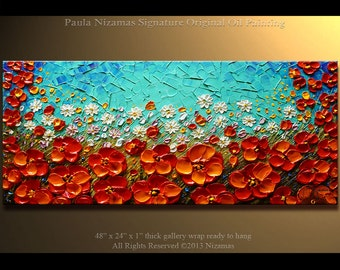 Painting on canvas Blue Red Poppies Impasto Landscape art by Nizamas Ready to Hang