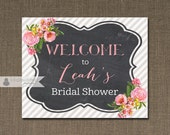Chalkboard & Pink Roses Welcome Sign Peonies Bridal Shower Wedding Buffet Food Table Sign Printable 8x10 DIY Digital or Printed - Leah
