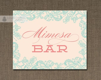 "Blush Pink Mimosa Bar Sign INSTANT DOWNLOAD 8x10"" Pink & Aqua Blue Lace Bridal Shower Wedding Brunch Printable DIY Digital - Bethany"