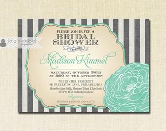Aqua Mint & Gray Bridal Shower Invitation Gray Stripes Big Bloom Flower Turquoise Teal Modern Printable Digital or Printed - Madison Style