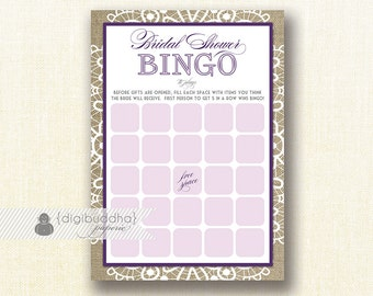 """Plum Lace Bridal Shower Bingo 5x7"""" Shabby Chic Purple Lace Burlap Bridal Shower Game Card 5x7 Printed Game Cards - Jackie"""