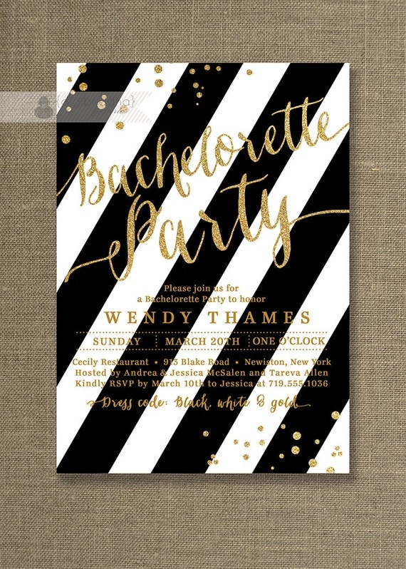 Bachelorette Party Invitation Glitter Bridal Shower Modern FREE ...