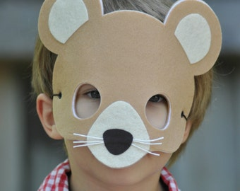 Mouse Mask - Felt Animal Mask -Mouse Costume  - Kids Halloween Masks - Pretend Play