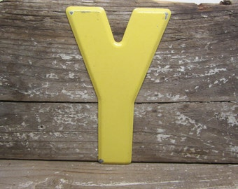 metal letter sign vintage letter y sign small size 5 12 inch painted yellow marquee sign letter sign wall art alphabet letters vintage