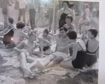 Vintage Photograph Attractive Young Guy at the Pool Women Rubbing him Down Oiling Sun Bathing 1960s Amateur Snapshot Posing Vintage Photo