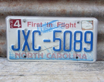 License Plate Vintage License Plate 1990s 90s Era NC North Carolina First in Flight License Plate Blue Man Cave Sign Garage Sign Wall Hanger