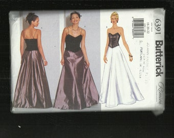 Butterick 6391 Ultra Flared Evening Length Skirt with Back Pleating & Corset Top Sizes 18-20-22