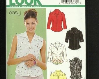 New Look 6952 Semi Fitted Shirts with Concealed Buttons Shaped Hemline Sizes 8 to 18  UNCUT