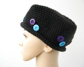 black crochet wool pillbox hat with purple turquoise buttons, stiff hat, cap, toque, small rolled brim - delectare