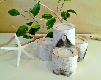 TREASURY ITEM - 4 Birch tree branch candles - Holiday candles - Birch logs - Birch tree slices - Wood candles - Rustic wedding candles