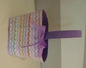 Monogrammed Fabric Easter Basket Candy Bucket Bin Storage Container - Pastel Zig Zag with Purple Dot