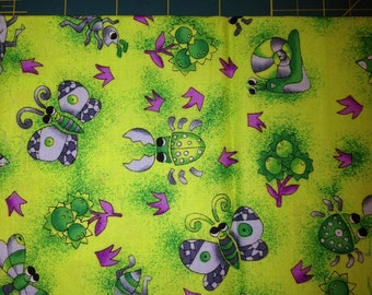Bugs and Butterflies on Green 100% Cotton Fabric Fat Quarter - 18 x 22 inches