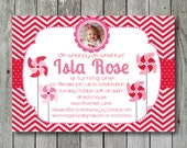 Pinwheel Invitation in Pink and Red - You Print