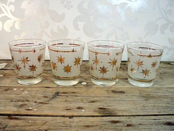 Frosted Atomic Starburst Lowball Tumblers, glassware, barware, Dominion Glass, gold trim, set of 4