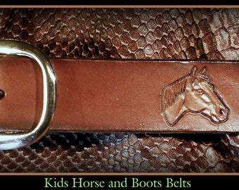 Kids belt, infant belt, leather belt, horse belt, cowboy boots, western child's belt, name belt, children's brown belt, handmade in USA,nice