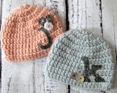 Custom Monogramed Crocheted Twin Brother Sister Hat Set with Felt Initial. - sizes Newborn, 0-3M, 3-6M or 6-12M