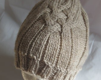 Tan Outdoorsman Hat, Mens Cabled Skull Cap, Cabled Winter Beanie, Brown Warm Winter Hat, Natural Wool Toque, Wool Cabled Beanie,