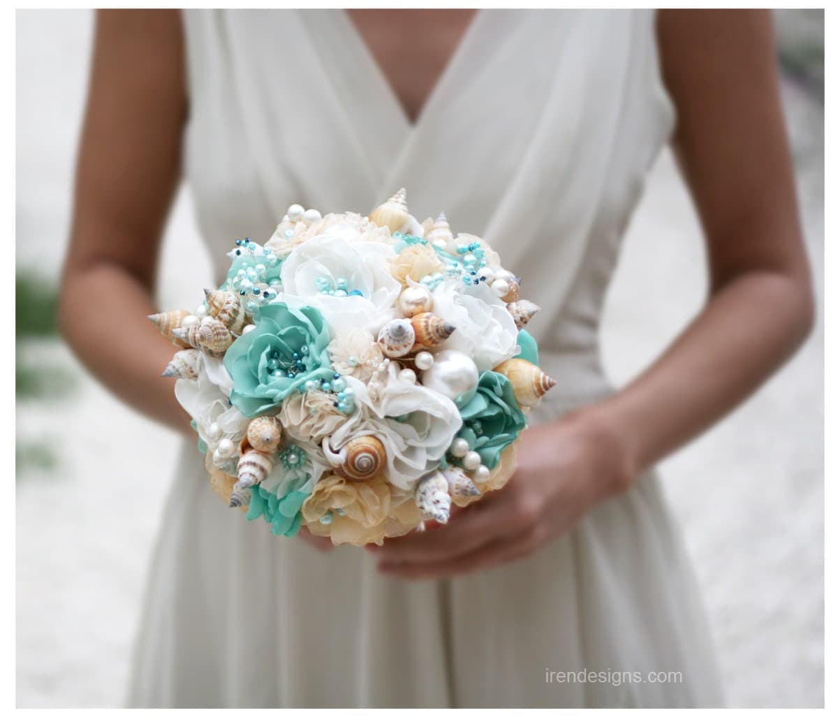 Beach Wedding Flowers: Seashells Wedding Bouquet For Beach Wedding. By IrenDesigns