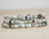 Light Green and Brown Recycled Paper Bead Bracelet Set, Made With Recycled Book Pages, Teacher Gift, Book Lover