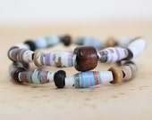 Earthy Natural Paper Bead Bracelet Set, Made From Recycled Book Pages, Teacher Gift, Book Jewelry