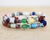 Paper Bead Bracelet Set, Made With Recycled Book Pages, Fairy Tale, Teacher Gift, Nerdy Gift