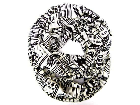 Aztec Infinity Double Loop Scarf Geometric Tube Black Winter White Trendy Teen Scarf Tribal Circle Scarf Womens Fashion Scarves Gift Idea