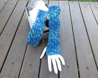 Hand Crochet Long Wrist Warmers In Hand Dyed Blue Superwash Merino Waves Pattern