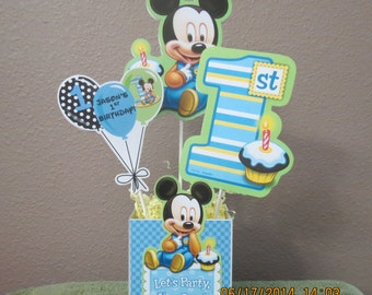 Baby Mickey's 1st Birthday Centerpiece