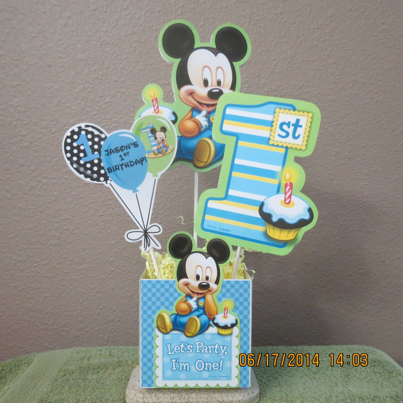 Baby Mickey's 1st Birthday Centerpiece