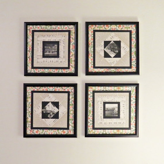 Music Theme Wall Decor Paper Quilt Art Set Of Four By