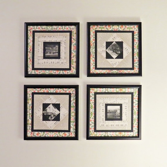 Wall Decor Music Theme : Music theme wall decor paper quilt art set of four by
