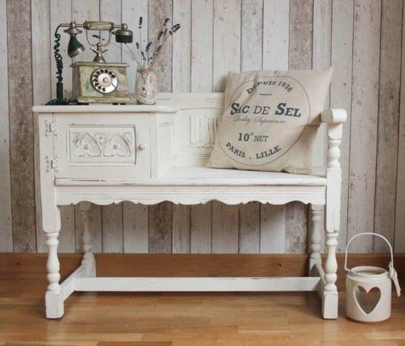 Solid Wood Shabby Chic French Farmhouse Telephone Table Seat