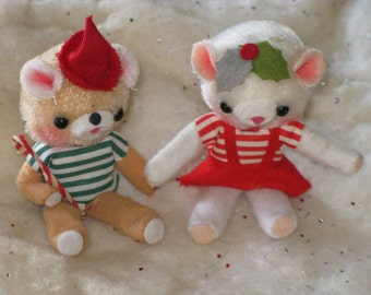 Vintage Christmas Bears Miniature Boy and Girl Fur and Felt White and Tan