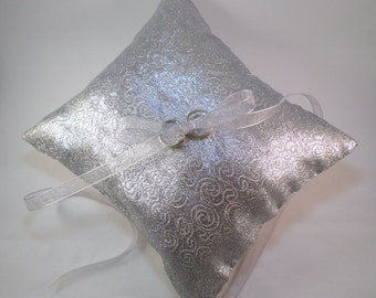 Silver Shiny Ring pillow Spiral Pattern Organza Ribbon Flower Girl Wedding Bridal Ceremony Table Decor