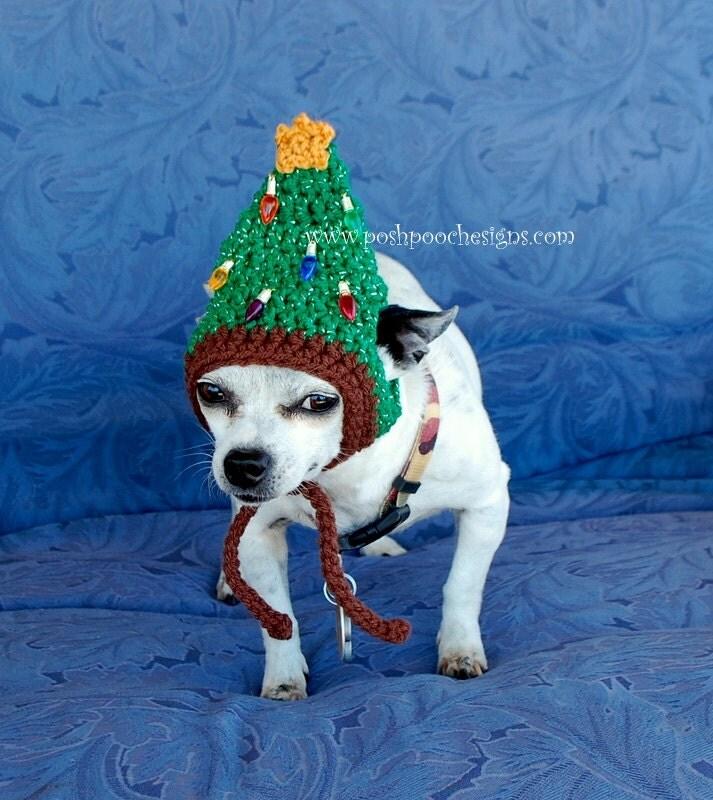 Instant Download Crochet Pattern Christmas Tree Dog Hat