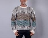 McGregor Southwestern Turquoise & Tan Diamond 80s Sweater Large