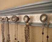 "Shabby Chic Jewelry storage wall rack with 5 knobs on soft gray w/ white embossed background 15"" Necklace organizer great womens gift"