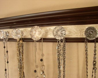 You choose 5, 7 or 9 knobs  Necklace rack.  Brown jewelry organizer features large glass center  w/ champagne embossed center
