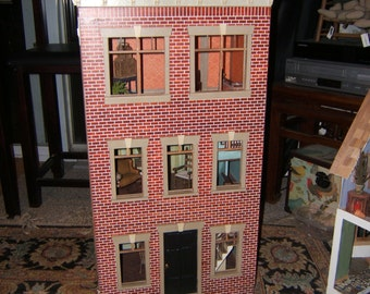 Doll house brick front openingTown House, charming details hand made, 36 inches tall lots of space for imaginative play ** ships to USA only