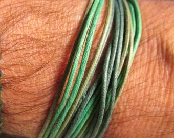 mens bracelet HANDMADE WAXED CORD - colors right off the European runways