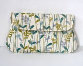 Cotton clutch teal, green, grey and cream leaves