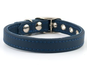 Soft Madeira Blue Leather Dog Collar