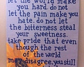Beautiful Place - Kurt Vonnegut - SUNFLOWER - Large Quote Canvas - Gift