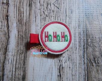 SALE Christmas-Holiday Girls Felt HOHO Hair Clip-Hair Accessories-Boutique Embroidered Felt Christmas-Santa Clippie-No Slip Grip