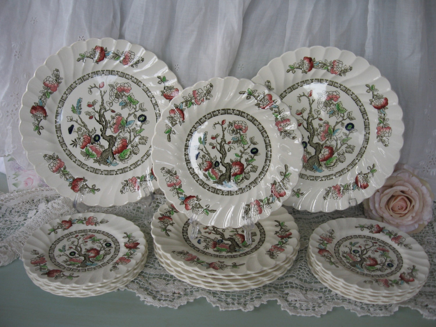 Indian Tree PlatesShabby Farmhouse Dinnerware SetIndian Tree