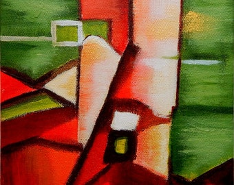 Original Abstract Painting  Geometric Mid Century Modern Abstract ALMOST HOME 8x8 gallery wrapped canvas
