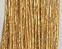 3x1mm Gold Matte Hematite Gemstone Heishi Hexagonal Slice 3x1mm Loose Beads 16 inch Full Strand (90189096-199)