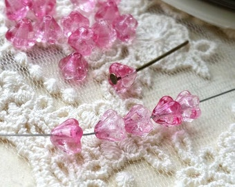 6 x 4 mm Shiny Pink Color Czech Glass Baby Bell Flower Beads (.am)